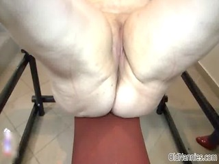 concupiscent chubby granny receives her wet crack