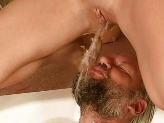 older man and gal pissing and fucking