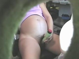 preggo vibrator hairy pussy