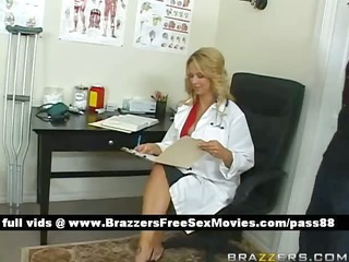 breasty blond doctor in her office