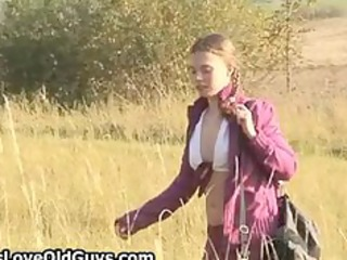 teen hotty on a hike outdoor strips fully part7