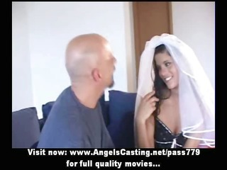 outstanding dark brown bride does oral-sex for