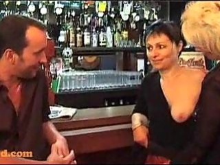trio with older chicks in a bar