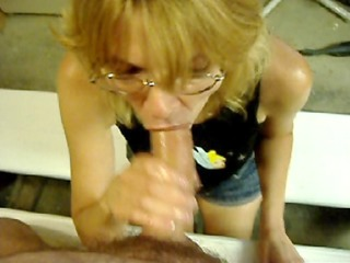 mature blond unfathomable throats a large cock