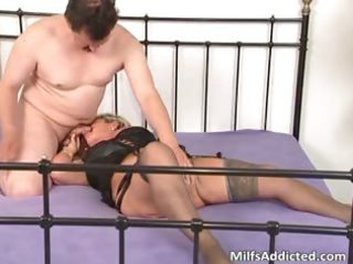 lascivious blond mum blows knob and daughter