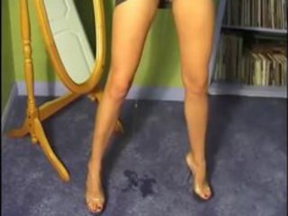 milf pees on carpet with dress on