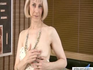 curly mature masturbation with beads