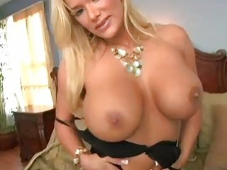 heavy chested blonde momma in black underware