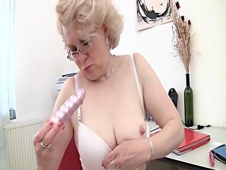 blonde older and her sex toy (masturbation)