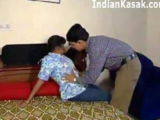 indian older aunty fucking with cute lad in