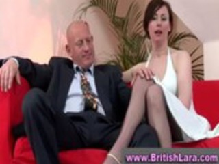 aged british lady in stockings is licked by