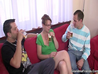 threesome party with old playgirl