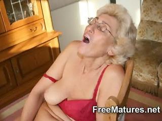grandmom in hose masturbating with vibrator