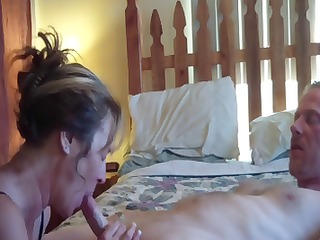 brunette jane eats his cock, gets licked and