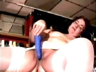 overweight dark brown uses a blue sex tool and