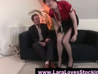 stockings aged lady in high heels
