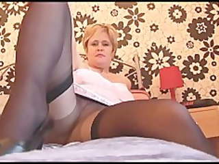 breasty mature hottie in hose nylons and slip