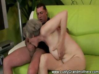 skilled granny fucking juvenile man on bed