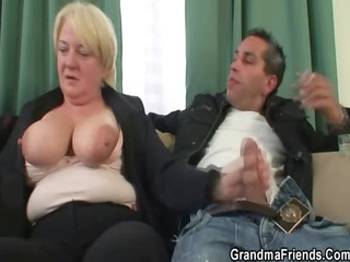 three-some orgy with drunk granny