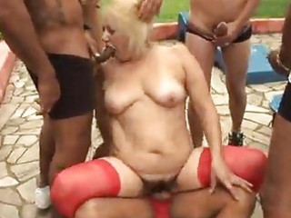 older granny blond victoria bang outdoor sex