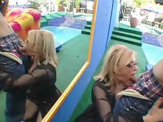 older lady begins the fun elsewhere and brings