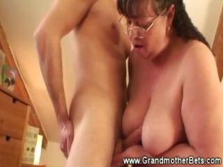 chubby granny rides slutty youthful cock
