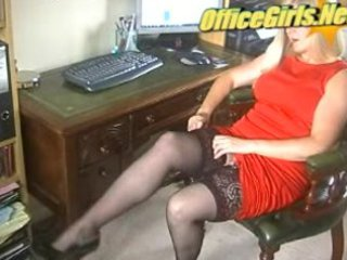 excited mature milf secretary in stockings