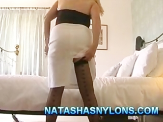 british milf amateur wife in nylons playing with