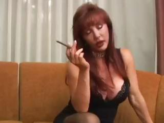 breasty mature vanessa has a smoke previous to