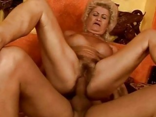 wicked breasty granny acquires her fur pie