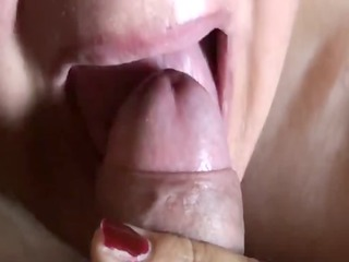 close up oral with biggest cock juice swallowed
