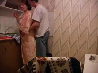 granny gets fucked in kitchen