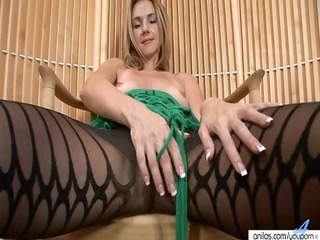 milfy hose disrobe and toying