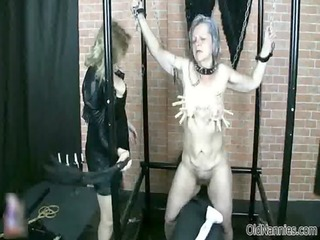 perverted fetish loving granny gets her soaked