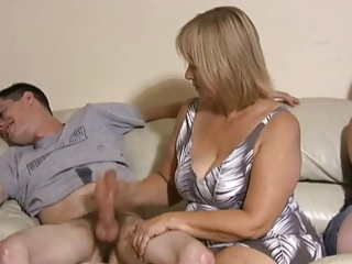 mother and daughter jerking boys off