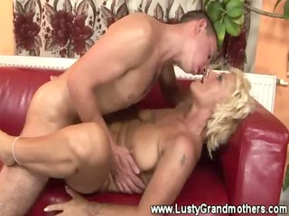older bushy granny gets pounded and likes it