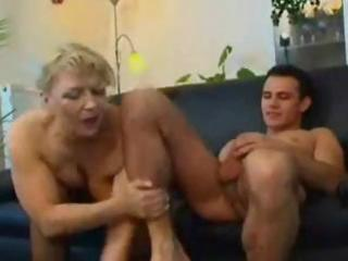 fat aged russian golden-haired eats his rod and