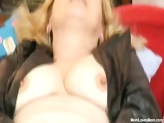 lewd aged lady wears nylons and toys herself