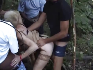 french excited granny banged outdoors