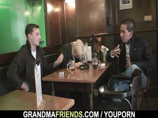 dudes gangbang totally drunk granny
