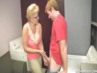 blonde granny teaches her youthful grandson the