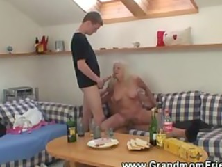 fucking granny three-some with engulfing and