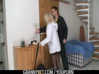 a guy bangs blond granny