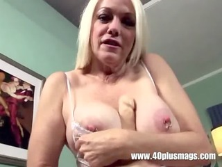 blond aged big pierced scoops and cum-hole