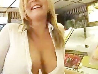 blonde flashing in public