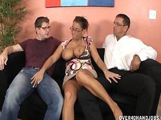 breasty milf double handjob